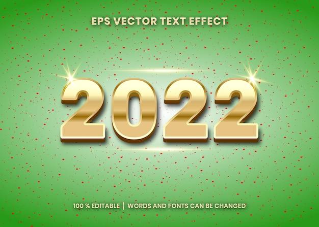 Feliz ano novo de 2022, efeito de texto editável em 3d no fundo