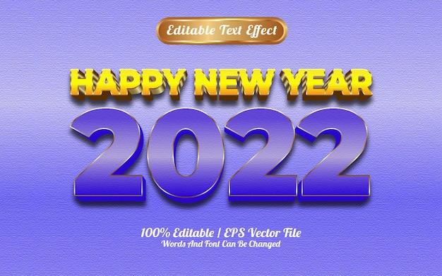 Feliz ano novo de 2022, efeito de texto estilo goldden azul e amarelo de luxo