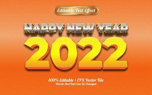 Feliz ano novo de 2022, efeito de texto estilo prata e ouro amarelo goldden