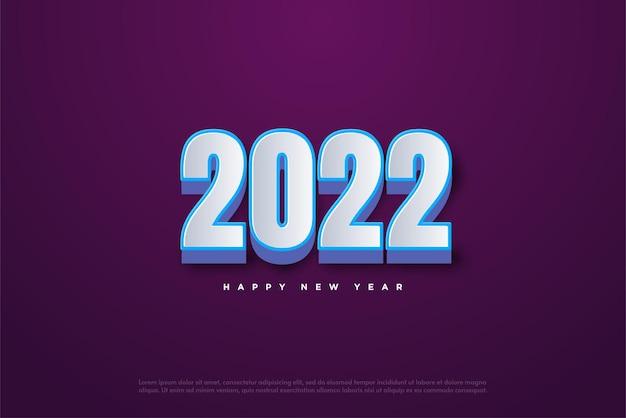 Feliz ano novo de 2022 em azul sobre branco
