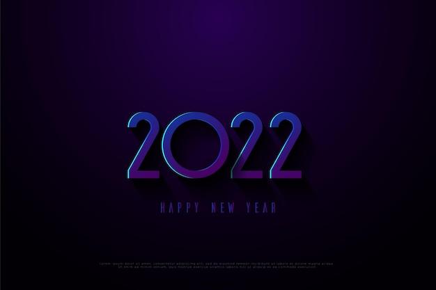 Feliz ano novo de 2022 em fundo azul com pouco efeito de luz