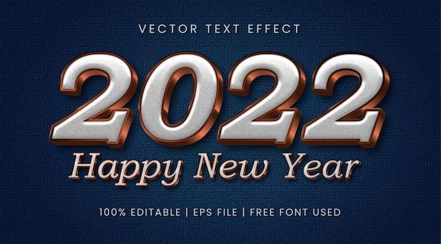Feliz ano novo de 2022, estilo de efeito de texto editável