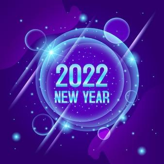 Feliz ano novo de 2022 fundo brilhante com relógio azul e glitter