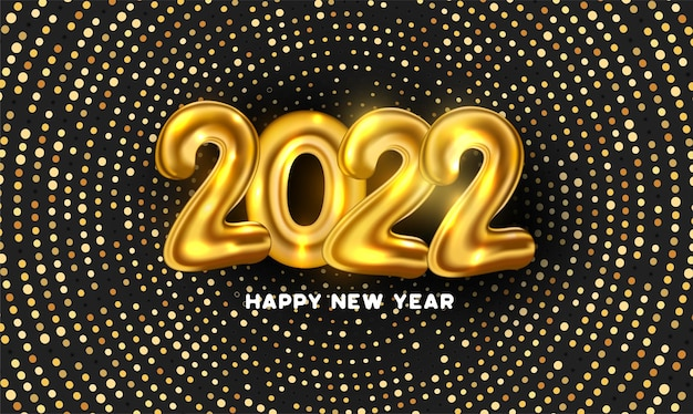 Feliz ano novo de 2022, fundo com pontos dourados