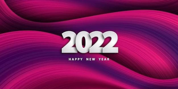 Feliz ano novo de 2022 fundo ondulado colorido festivo com números 3d de prata