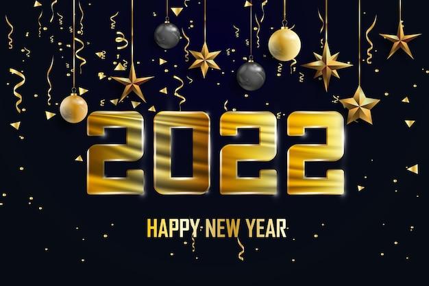 Feliz ano novo de 2022, fundo preto de natal decorado com brilhos dourados e estrelas