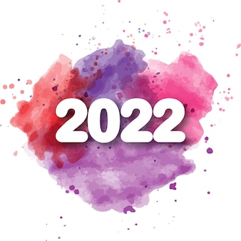 Feliz ano novo de 2022 lindas letras em aquarela
