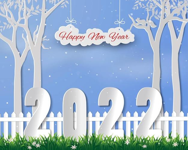 Feliz ano novo de 2022 na ilustração do vetor de paisagem de inverno arte em papel