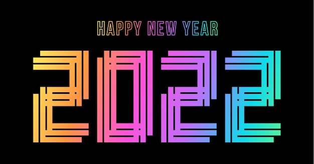 Feliz ano novo de 2022. número holográfico 2022, holograma em negrito. ano novo e natal design para calendário, cartões ou impressão. cartão de felicitações, cartaz festivo e banner. ilustração vetorial