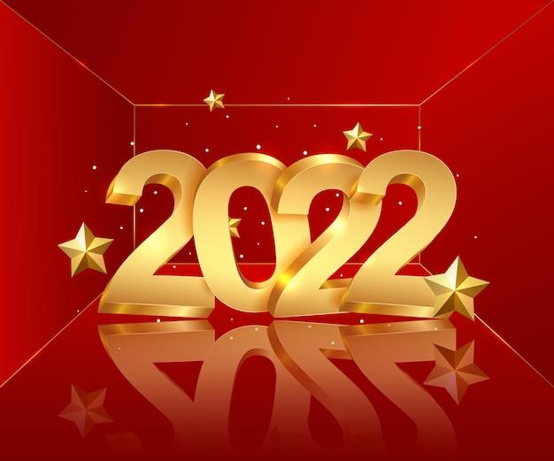 Feliz ano novo de 2022 números brilhantes dourados decorativos em um fundo vermelho