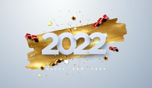 Feliz ano novo de 2022 números de corte de papel com partículas cintilantes de confete, estrelas douradas e serpentinas