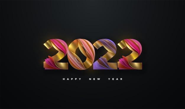 Feliz ano novo de 2022, sinal de números de papel colorido em camadas isoladas em fundo preto