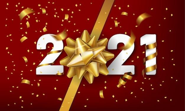 Feliz ano novo de fundo vector com laço dourado de presente e confetes.