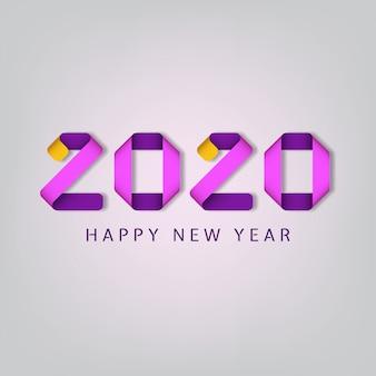 Feliz ano novo de inscrição 2020 em fundo branco