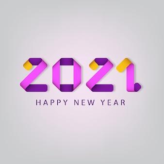 Feliz ano novo de inscrição 2021 em fundo branco. inscrição colorida com efeito 3d.