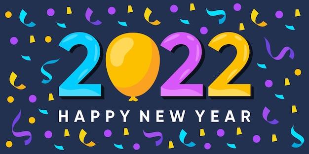 Feliz ano novo de inscrição 2022 em fundo com confete explodindo. vector premium