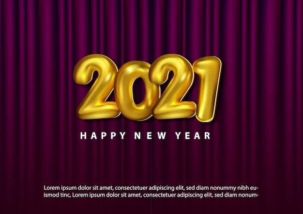 Feliz ano novo de luxo 2021 com o número dourado 3d do balão