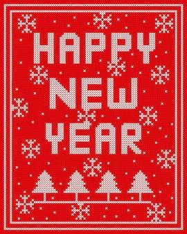 Feliz ano novo de malha vector design sobre fundo vermelho.
