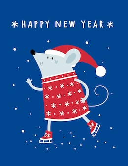 Feliz ano novo de natal. rato, rato, ratos, bebê no chapéu de papai noel