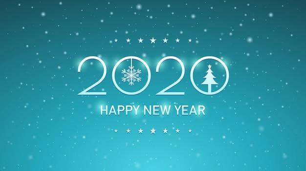 Feliz ano novo de prata 2020 com flocos de neve no fundo da cor azul vintage