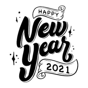 Feliz ano novo decoração com letras à mão