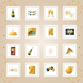Feliz ano novo decoração dourada e ilustração do conjunto de cartão de ornamento