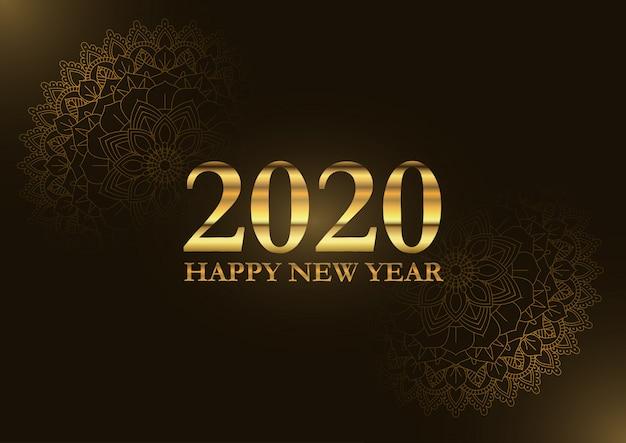 Feliz ano novo decorativo com design de mandala