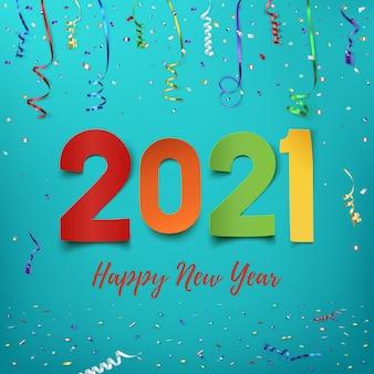 Feliz ano novo . desenho abstrato de papel colorido com fitas e confetes. modelo de cartão de saudação.