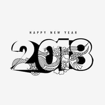Feliz ano novo design 2018 com decoração floral