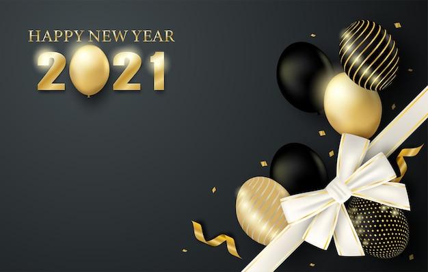 Feliz ano novo . design com balões e caixa de presente em fundo preto.