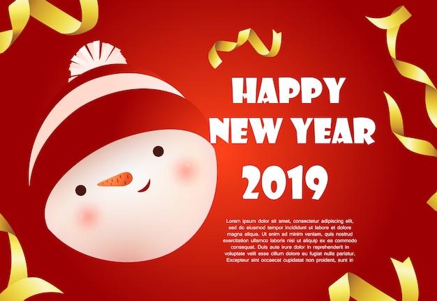 Feliz ano novo design de bandeira vermelha com cara de boneco de neve e texto de exemplo