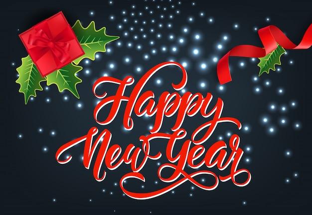 Feliz ano novo design de cartão festivo. caixa de presente vermelha