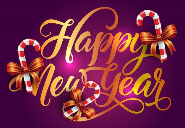 Feliz ano novo design de cartão postal. bastões de doces