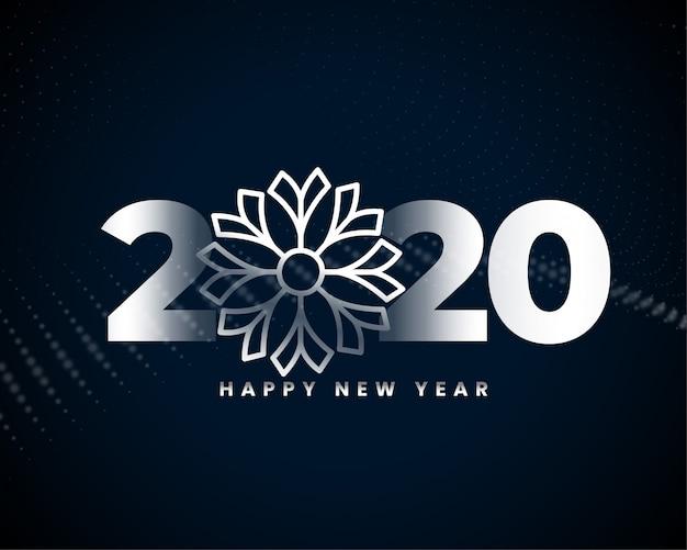 Feliz ano novo design de cartão prateado bonito