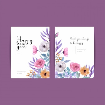 Feliz ano novo design de cartão vertical