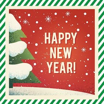 Feliz ano novo design de cartão vintage