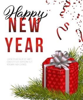 Feliz ano novo design de cartaz. caixa de presente vermelha