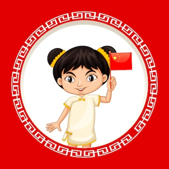 Feliz ano novo design de plano de fundo com menina chinesa