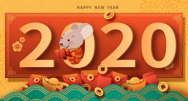 Feliz ano novo design de plano de fundo com rato