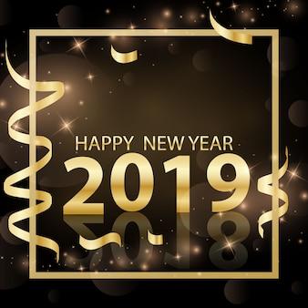 Feliz ano novo design ilustração em vetor de ouro 3d 2019