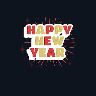 Feliz ano novo design isolado em preto