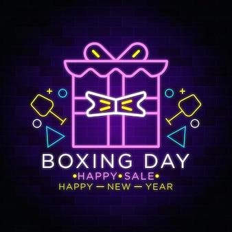 Feliz ano novo - dia do boxe - caixa de presente de natal neon