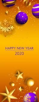 Feliz ano novo dois mil e vinte letras, flocos de neve