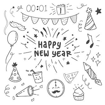 Feliz ano novo doodle definir item de ícone de coleção