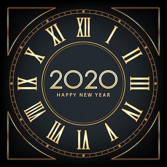 Feliz ano novo dourado 2020 e capa com glitter em fundo de cor preta