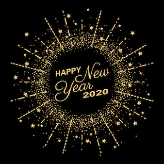 Feliz ano novo dourado 2020 em círculo anel de fogos de artifício com explosão de brilho sobre fundo de cor preta