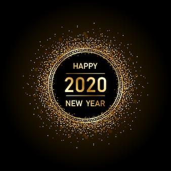 Feliz ano novo dourado 2020 em círculo anel de fogos de artifício com explosão glitter fundo preto