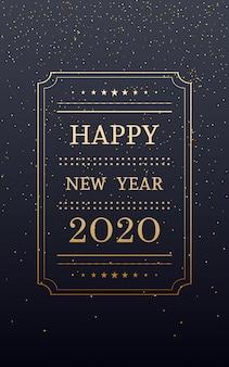 Feliz ano novo dourado 2020 na vertical com glitter em fundo de cor preta