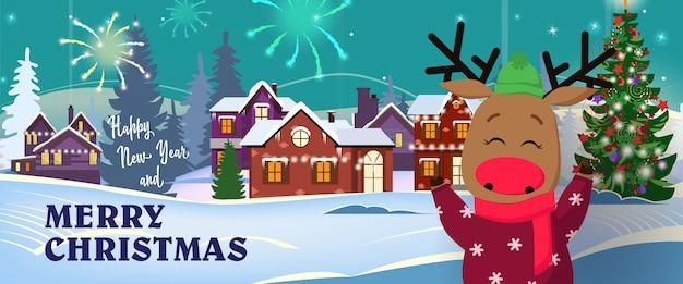 Feliz ano novo e banner de natal feliz com veado engraçado
