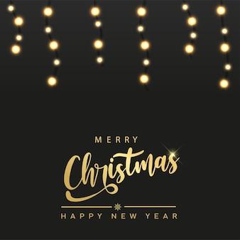Feliz ano novo e cartão de natal com luzes de natal penduradas. vetor
